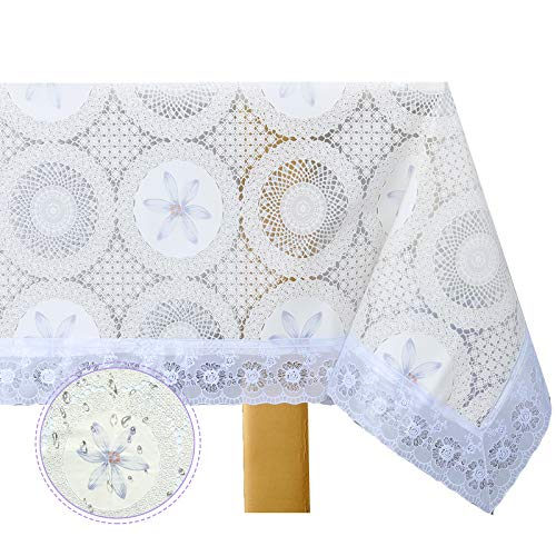 DITAO Ramadan Decoration Tablecloth, Waterproof Vinyl Lace Table Cloth, Heavy Wipeable Table Cover for Square Table
