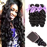 Human Hair Bundles Loose Wave Brazilian Loose Wave Hair Bundles With Closure 100% Unprocessed Human Hair Weave Bundles Loose Curly with 4X4 Lace Closure Natural Black Color(24 26 28+20)