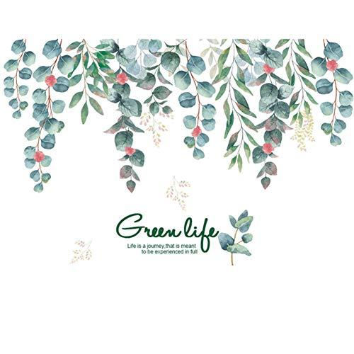 YUIOP Green Life green vines hojas etiqueta de la pared dormitorio sala de estar decoración de fondo Mural HomeDecal Stickers