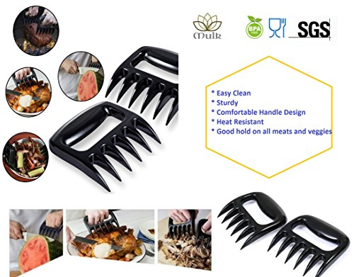 Mulk - Set of 2 BBQ Meat Shredder Claws Superior Heavy Duty and Heat Resistant Handles - Suitable for All Meats from Grill Smoker or Slow Cooker - BPA Free, Dishwasher Safe, Food Grade and Easy Clean