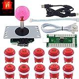 JX @ SJ 方向ジョイスティック USBエンコーダMAMEラズベリーパイ赤 用にDIYキット10倍ボタン ロゴLED MX 8 PCスティックアーケード