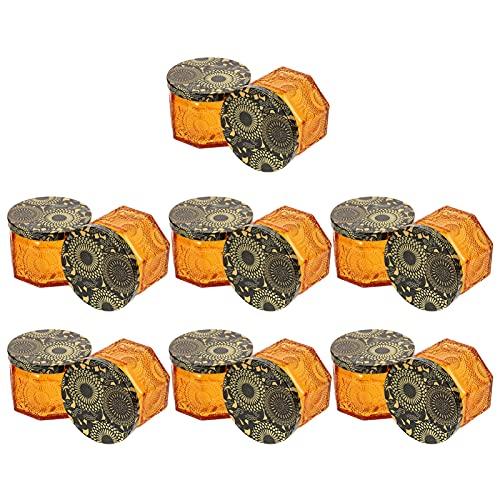 Artibetter 14 Unidades de Tarros de Vela de Vidrio en Relieve Ámbar con Tapas Etiquetas de Advertencia para Velas Reciclables Tarros para Hacer Velas Almacenamiento Y Más