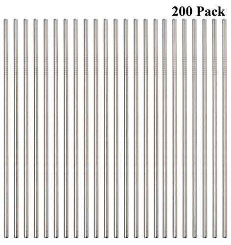 Reusable Metal Straws 200 Pack,10.5' Stainless Steel Straws All Straight Straws for 30oz Tumblers Yeti Cups Travel Mugs,Drinking Metal Straws In Bulk For Wholesale(200Pack Straight-Silver-10.5')