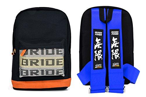 New Bride Racing Backpack with Mugen Power Racing Harness Shoulder Straps Blue