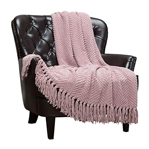 Chanasya Textured Knitted Super Soft Throw Blanket with Tassels - Warm Fluffy Cozy Plush Knit - for Couch Bed Sofa Living Room Framhouse Boho Tan Pink Accent Decor (50x65 Inches) Mauve Blanket