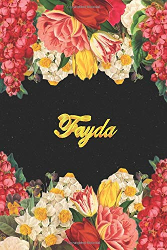Fayda: Lined Notebook / Journal with Personalized Name, & Monogram initial F on the Back Cover, Floral cover, Gift for Girls & Women