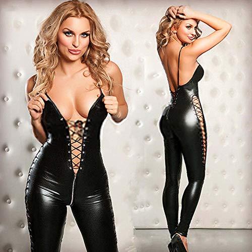 Damen Overall Im Wetlook M-3XL Mit Reißverschluss Rückenfreier Sexy Jumpsuit Catsuit Exklusives Clubwear,XXL