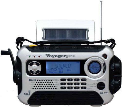 Kaito Voyager Pro KA600 Digital Solar/Dynamo AM/FM/LW/SW & NOAA Weather Emergency Radio with Alert & RDS, Silver