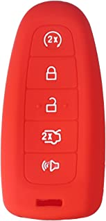 XUHANG Sillicone key Skin Cover key Remote Case Protector Shell for Ford Edge Escape Explorer Focus LINCOLN MKS MKT MKX MKZ Keyless Entry Smart Remote 5 Buttons red