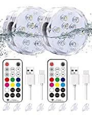 Qoolife Rechargeable Submersible led Lights- Magnetic Underwater Lights Remote Controlled RGBW Changing Waterproof Shower led Bathtub Lights for Pond Pool Fountain Aquarium Vase Hot Tub (2 Pack)