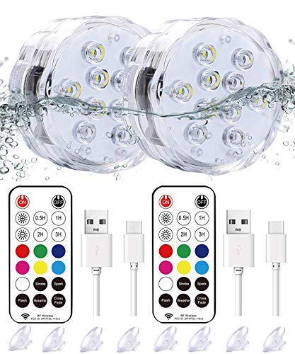 "Qoolife Rechargeable Magnetic Submersible Led Lights - 3.3""RGBW Underwater Lights Remote Controlled Color Changing Waterproof Led Bathtub Lights for Hot Tub Pond Pool Fountain Aquarium Vase (2 Pack)"
