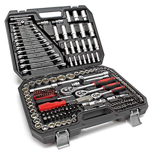 Wiltec Ratschen-Steckschlüssel-Satz 215tlg. Schraubenschlüssel Nusssatz Nusskasten Werkzeugset