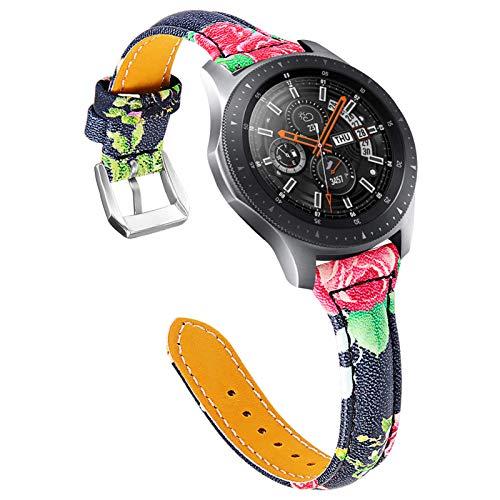 GhrKwiew Correa de Reloj de 22mm Cuero, 22mm Pulseras de Cuero Genuino Delgado de Repuesto de Liberación Rápida para Galaxy Watch3 45mm / Galaxy Watch 46mm/ Gear S3 Classic/Frontier (A01)