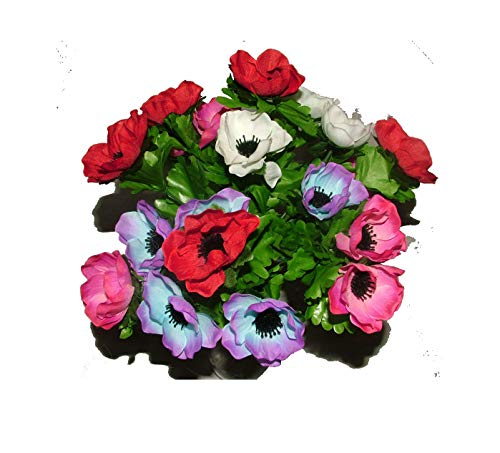 Artificial Silk Anemone Bush with Leaves 21 flower heads - grave home weddings spring flowers by A1-Homes