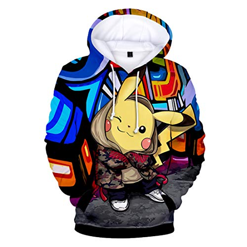 YUANOU 2018 Nuevos Comics Pikachu Súper Tendencia Suelta Impresión 3D Hombres Y Mujeres con Capucha Más Suéter De Terciopelo