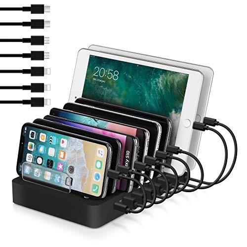 USB Charging Station,105W 8-Port Desktop Charger Organizer with 45W Power Delivery Port for USB-C Laptops, MacBook Pro/Air, iPad Pro, S10, and 7 USB Ports for iPhone 11/Pro/Max, S9/S8 and More
