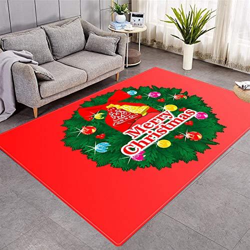 DRTWE Alfombra de terciopelo suave con diseño de guirnalda de Navidad, para sala de estar, dormitorio, antideslizante, cálida, para yoga, meditación, para niños, 91 x 152 cm