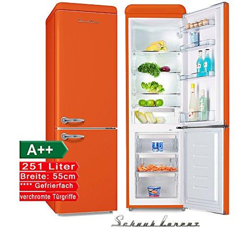 Schaub Lorenz SL250O Retro Kühl-Gefrier-Kombination Orange EEK: A++ 55cm breit, 251 Liter 4**** Gefrierteil 181,5cm hoch