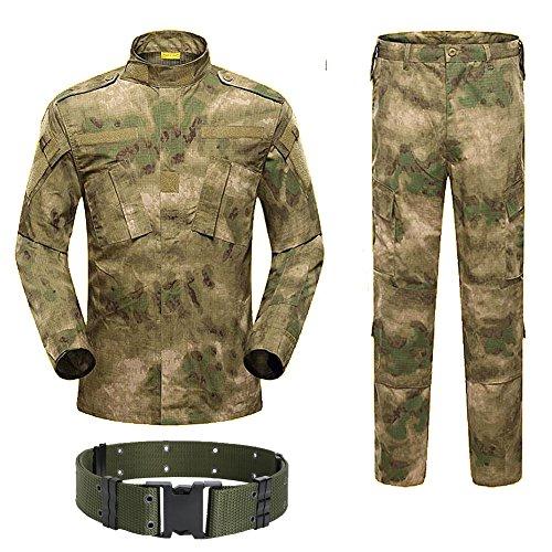 H Monde Shopping pour Homme Tactique BDU Combat Uniforme Veste Chemise & Pantalons Costume pour l'armée Militaire Airsoft Paintball Chasse Jeu de Guerre Végétato at, at-FG