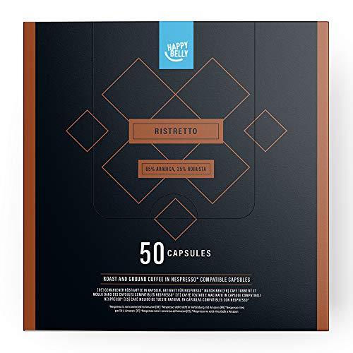 Marca Amazon - Happy Belly Ristretto Café UTZ molido de tueste natural en cápsulas (compostables) compatibles con Nespresso, 50 cápsulas