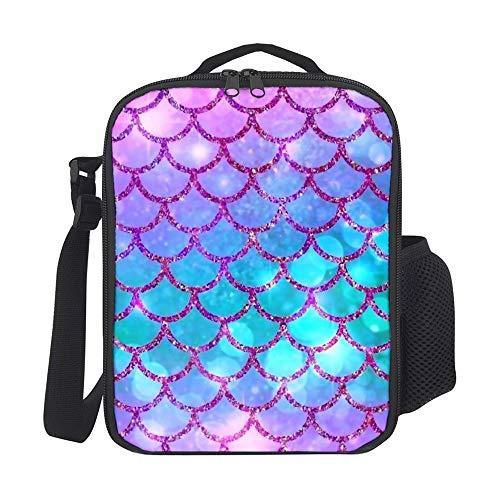 SARA NELL - Lonchera para niños, diseño de sirena, color rosa y azul