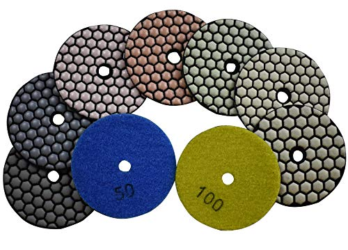 Konfor 3 inch Diamond Dry/Wet Polishing Pad 7 Pcs Sanding Grinding Disc Mix 50 to 3000 for Stone Granite Concrete Marble