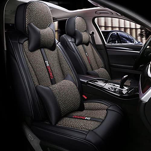 HZWZ Cubiertas De Asiento De Automóviles Lujo PU Cuero Universal Auto Frente Y Trasero Protector De Asiento Fit Sedan SUV 5 Asientos Full Fit Universal Fit,D