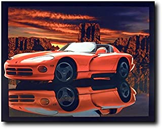 Red Dodge Viper Lithograph Muscle Car Wall Decor Art Print Poster (16x20)