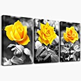 Canvas Wall Art For Bedroom Living Room Bathroom Wall Decor For Kitchen Family Pictures Artwork Black And White Yellow Rose Flowers Paintings 12