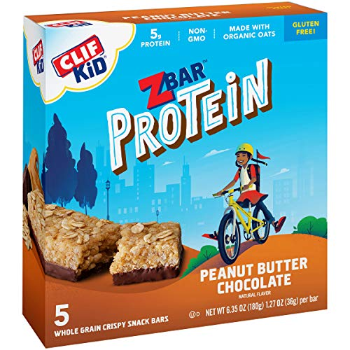 CLIF KID ZBAR - Protein Granola Bars - Peanut Butter Chocolate Flavor - Non-GMO - Organic -Lunch Box Snacks (1.27 Ounce Energy Bars, 5 Count)