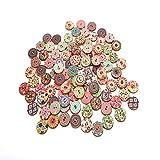 Bottoni in Legno Decorativi Vintage, 300 Bottoni in Legno con Stampa Floreale, Bottoni Fatti a Mano 15mm, 20mm, 25mm, con 2 Fori per Decorazioni Artigianali Fai-da-Te Cucire Vestiti per Maglieria