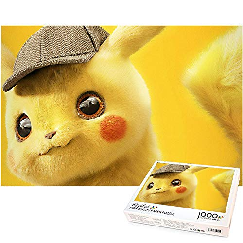 1000 Piezas Rompecabezas Pikachu Juguete de descompresión para Adultos Rompecabezas Decoración del hogar Regalo Juego Familiar Rompecabezas 70x50cm-Detective Pikachu Pokémon