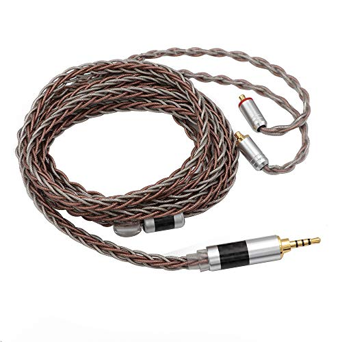 Linsoul TRIPOWIN C8 8-Core Silver Copper Foil Braided Earphone Replacement Upgrade Cable, Tinsel Silver Copper Wire for UE900s SE215 SE425 TIN Audio T2 T3 BGVP (2.5mm Plug, MMCX Connector)