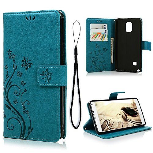 MOLLYCOOCLE Galaxy Note 4 Case, Natural Luxury Butterfly Stand Wallet Purse Blue PU Leather Credit Card ID Holders Design Flip Folio TPU Soft Bumper Ultra Slim Fit Cover for Samsung Galaxy Note 4