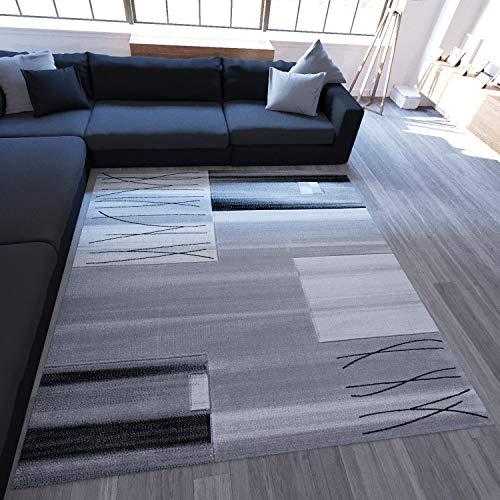 Woonkamer tapijt geruit gestreept in grijs dicht geweven onderhoudsvriendelijk getest op schadelijke stoffen geschikt voor vloerverwarming 80x150 cm