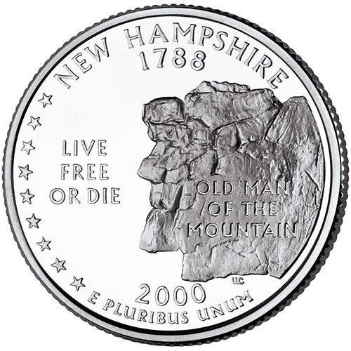 2000 S Clad Proof New Hampshire State Quarter Choice Uncirculated...