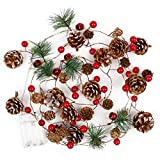 yazi Christmas Garland with Lights,6.5ft PineCones String Lights Decorative Fairy Lights 20 LED Pinecone Red Berry Bell for Thanksgiving Garden Gate Needle Garland Decor