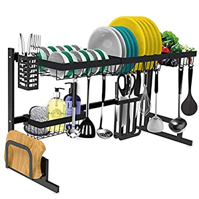 Dish Drying Rack Over the Sink -Adjustable Large Dish Rack Drainer for Kitchen Organizer Storage Space Saver Shelf Utensils Holder with 7 Utility Hooks Dish Rack Over Sink (32? Sink Size ? 39.5 inch)
