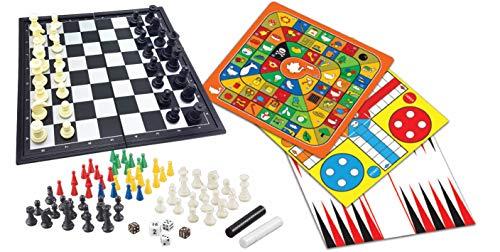 LEXIBOOK- Set 8 1, Ajedrez, Nueve Hombres de Morris, Serpientes y escaleras, Juego de la oca, pequeños Caballos, Damas Chinas, Backgammon