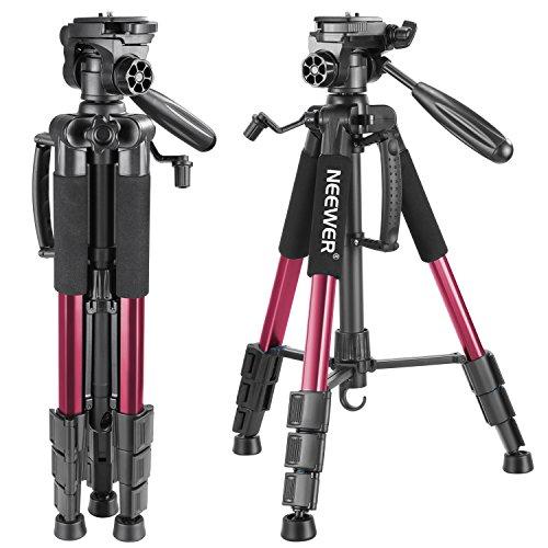 Neewer (SAB234) ,142cm Trípode de Cámara de Aluminio con Rótula de 3 Vías Giratorio, Bolsa de Transporte para cámara DSLR, DV Video, Carga hasta 4 kg Rojo