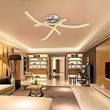 TYCOLIT Lámpara de techo LED, 3 focos, orientable, forma de ondas, 3000 K, blanco cálido, 18 W, 2400 lm, 220 V, IP21, moderna lámpara de techo para pasillo, salón, comedor [clase energética A++]