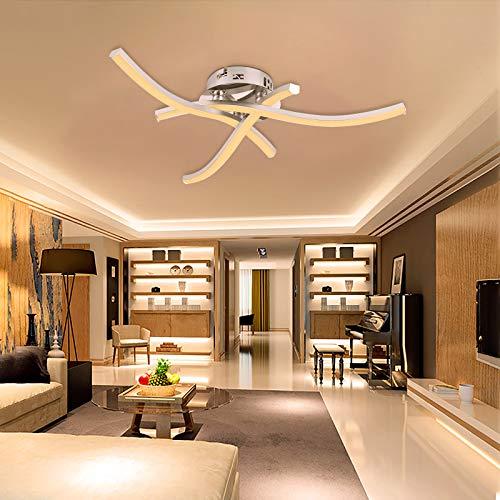 TYCOLIT LED Deckenleuchte, 3 Flammig Lampen, I schwenkbar IWellenförmige Deckenlampe, 3000K Warmweiß 18W 2400 lm 220V, IP21 Moderne Deckenleuchte für Gang, Wohnzimmer, Esszimmer [Energieklasse A++]