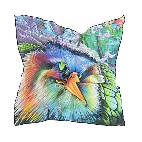 NaiiaN para mujer Señoras Caballo Cuadrado Chal Bufanda Doodle Pájaro Arte colorido Cabeza de impresión ligera Envolturas 60 × 60 CM Pañuelo en la cabeza