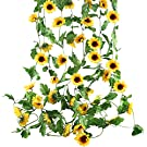 Funfly 3Pcs 8 Ft Artificial Sunflowers Hanging Vine Silk Fake Flowers Garlands Home Office Garden Outdoor Wall Greenery Cover Jungle Party Decoration (Yellow)