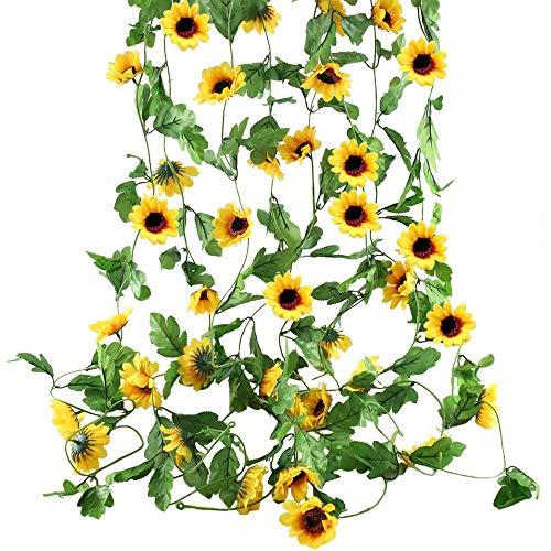 Funfly - 3 Pcs Ghirlande di Fiori Artificiali da Appendere, in Seta, , 2,4 m, per casa, Ufficio, Giardino, Giardino, Giardino, Giardino Yellow