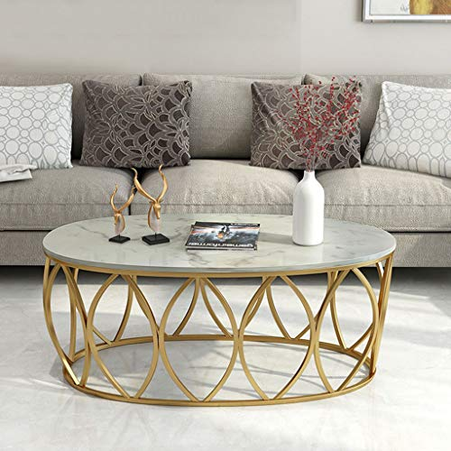 """Living Room Coffee Table in Oval Marble, White Sturdy Faux Marble Tabletop, Gold Metal Wrought Iron Frame - 80x50x45cm (31.5""""x20""""x17.7"""")"""