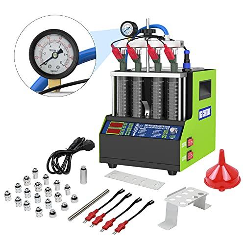 MR CARTOOL V308 110V Fuel Injector Tester Automotive for Car Motorcycle 4 Cylinders, Ultrasonic Fuel InjectorCleanerMachine Mini Fuel Injector Cleaner Tool for Gasoline Diesel