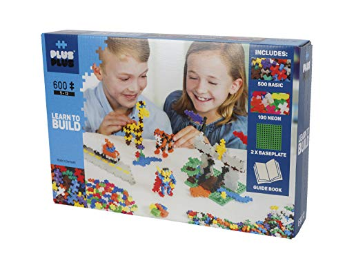 Plus-Plus 9605008 Geniales Konstruktionsspielzeug, Learn to Build Basic, Bausteine-Set, 600 Teile