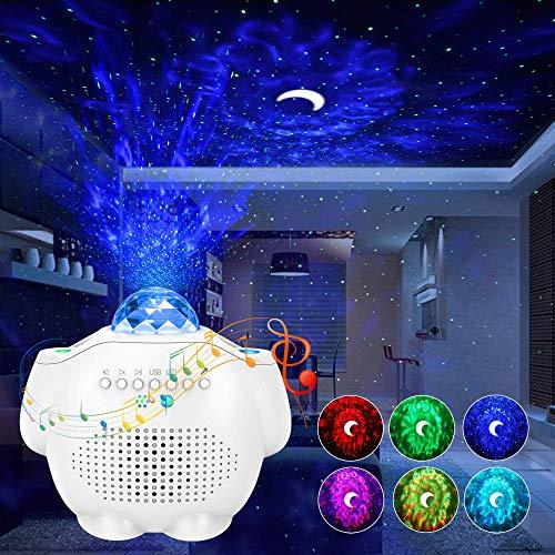 Proyector Estrellas, Lampara Estrellas Proyector 4 in 1 Nocturnas de Nebulosa Giratorio de Música con de Voz Control Bluetooth y Temporizador Luz de Noche Infantil, Luna Lámpara Proyector Niños Regalo