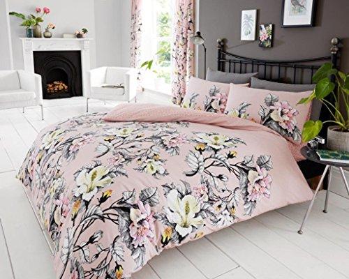 Hendem Eden Floral Duvet Cover Reversible Set With Pillow Case Modern Bedroom Flowers Quilt Cover (Pink, Double)